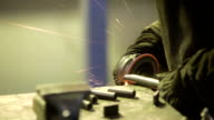 Worker with grinder video