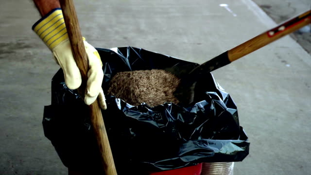 Workers cleaning-up a spill video