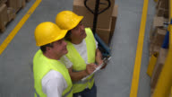 Workers doing an inventory at a distribution warehouse video