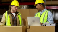 Workers look at laptop computer in shipping warehouse video