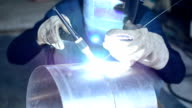 Workers were welded stainless steel. video