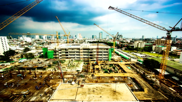 Working at Big Construction Site with Crane video
