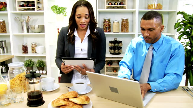 Working Breakfast Professional African American Couple video