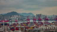 working day port 4k time lapse from hong kong roof top video