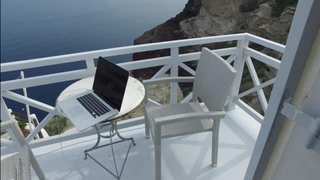 Working outdoor on terrace video