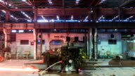 working steel rolling factory interior, time lapse. video