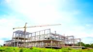 Working tall cranes inside video