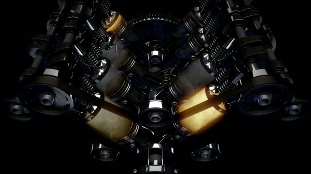 Working v8 engine Inside in Slowmotion. HD video
