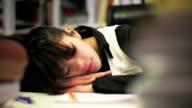 Workoaholic sleeping on work video