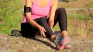 Workout fitness injuries young woman with pain in the leg video