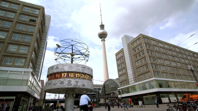 World Clock with TV Tower, Berlin, Germany video