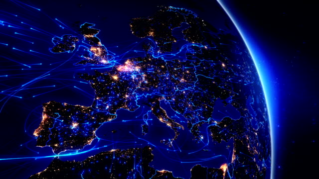 World connections. Aerial, maritime, ground routes and country borders. Europe. video