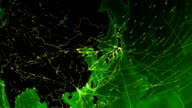World connections. Asia-Japan. Aerial, maritime, ground routes and country borders. video