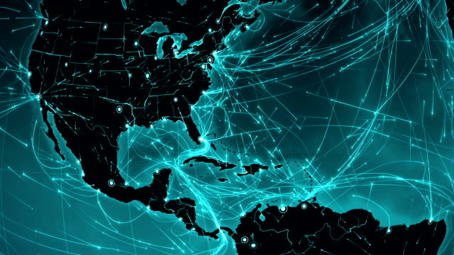 World connections. Central America. Aerial, maritime, ground routes/country borders. video