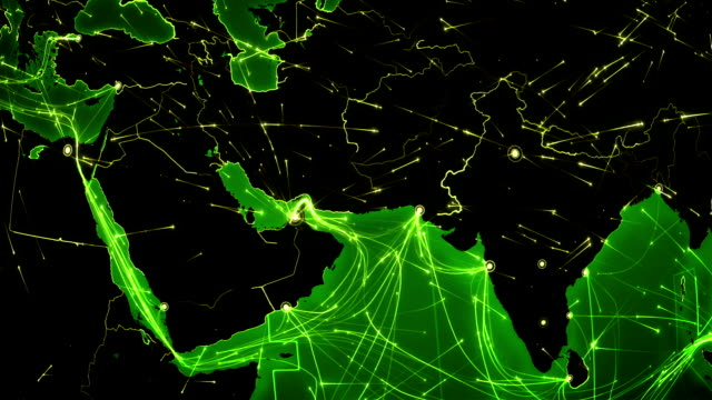World connections. Middle East. Aerial, maritime, ground routes/country borders. video
