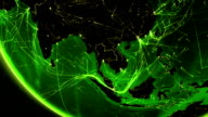 World connections. Southeast Asia. Aerial, maritime, ground routes/country borders. Asia. video