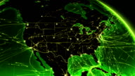 World connections. North America. Aerial, maritime, ground routes and country borders. video