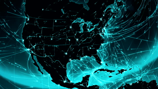World connections. USA. Aerial, maritime, ground routes and country borders. video