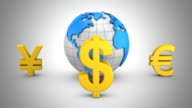 World Currencies Rotate Around the Earth video