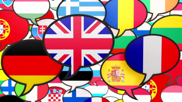 World flags in form of speech bubble video