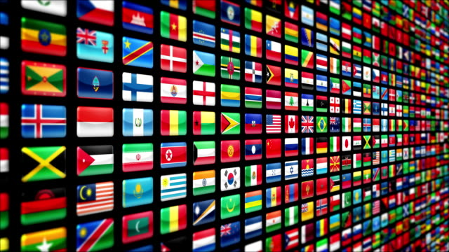 World flags, zoom out. Loopable. video