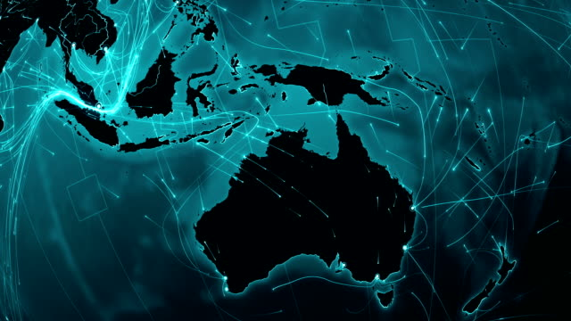 World map connections. Oceania- Asia. video