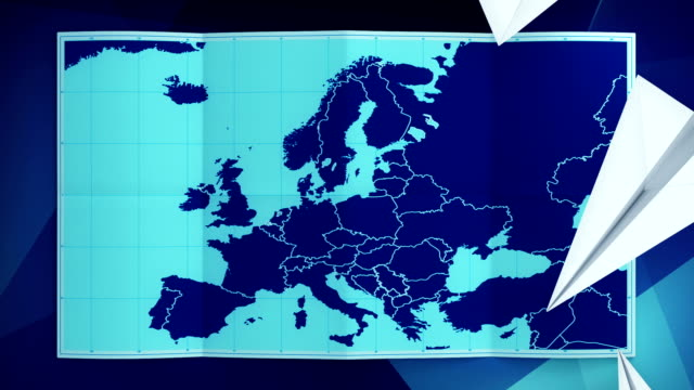 World map folds out on blue. Three in one. video