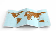 World map folds out on white. Three in one. video