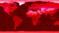World map high tech digital satellite data view war room loop red war CRT video
