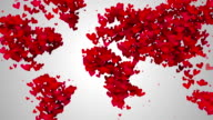 World Map Love Shape Particles Looping Animation video