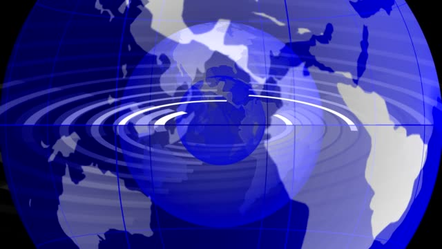 World map. News-media topics Broadcast. Loop able media background. Blue. video
