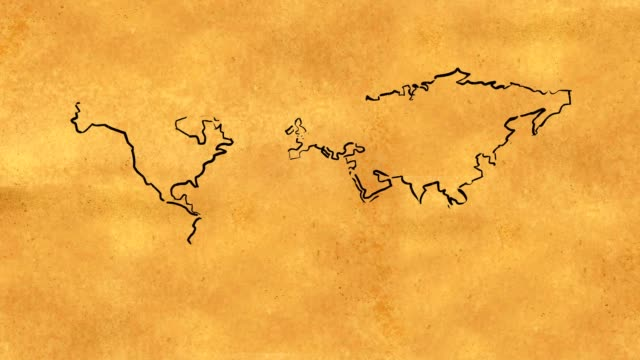 World Map Sketch on Old Paper Looping Animation video