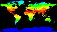 World map thermo waves seamless loop video