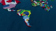 3D World Map to South America with Flags video