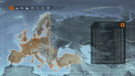 World map with European statistics: Population, Airports, Routes and Railroads.Gray. video