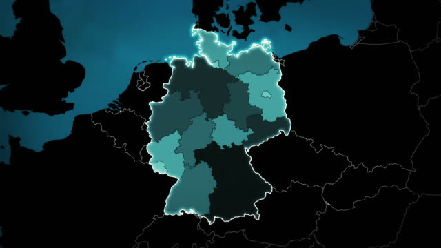 World map with German: Airports, Roads and Railroads. Blue. video