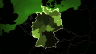 World map with German: Airports, Roads and Railroads. Green. video