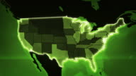 World map with US Airports, Roads and Railroads. Green. Loopable. video