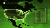 World map with US statistics: Population, Airports, Routes and Railroads.Green. video