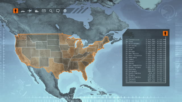World map with US statistics: Population, Airports, Routes and Railroads.Gray. video