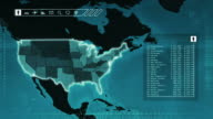 World map with US statistics: Population, Airports, Routes and Railroads.Blue video