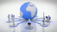 World Network. Loopable. Blue. White background. video