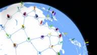 World Network. White and Multicolored. Asia-America. video