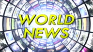 World News Text in Monitors Tunnel, Loop video