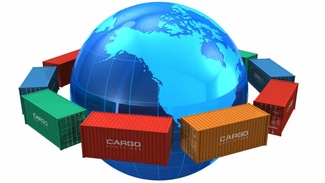 Worldwide shipping concept: Cargo containers around the blue Earth globe video