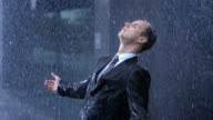 Worried Businessman In The Rain video