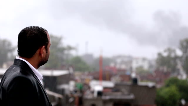Worried Businessman In The Rain video