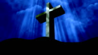 Worship Cross Rays Blue Loopable Background video