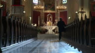 HD DOLLY: Worshipper Walking Out Of Church video