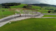 Wrapped paved walkway in the middle of beautiful landscape video